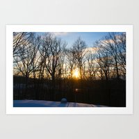 rileigh smirl Art Prints featuring Snowy Sunset by Rileigh Smirl