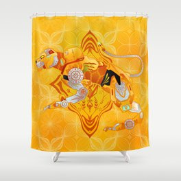 Yellow Batik Lion Shower Curtain