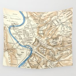 Vintage Map of Rome Italy (1870) Wall Tapestry