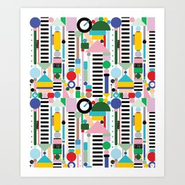 Memphis Milano Postmodern City Towers Art Print
