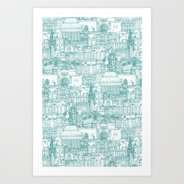 Edinburgh toile teal white Art Print