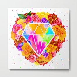 Flowered Diamond Metal Print