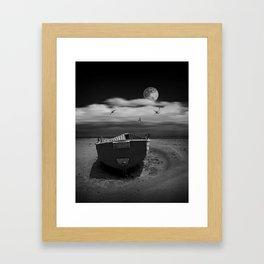 Row Boat on a Sandy Beach in Biscayne Bay Florida Framed Art Print