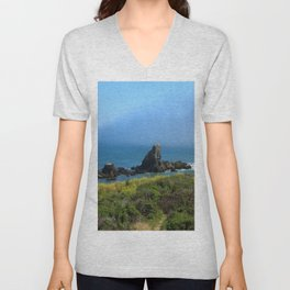Rocks In The Sea At Pigeon Point Unisex V-Neck