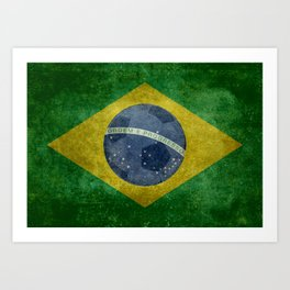 Vintage Brazilian National flag with football (soccer ball) Art Print