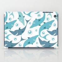 sharks iPad Cases featuring Sharks by Julia Badeeva