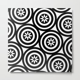 Black & White Circles Flowers Modern Floral Patterned Design Metal Print