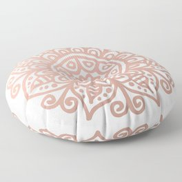 Rose Gold Floral Mandala Floor Pillow