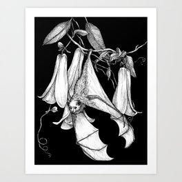 Bat and Brugmansia  Art Print