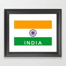 India country flag name text Framed Art Print