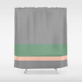 Solid Gray w/ Green and Pastel Orange Divider Lines - Abstract #ArtofGanenK Shower Curtain