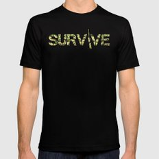 Survive (Army) MEDIUM Black Mens Fitted Tee