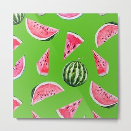 Watermelon Pattern with Green Background Metal Print