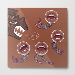 surreal hello with mouth people Metal Print