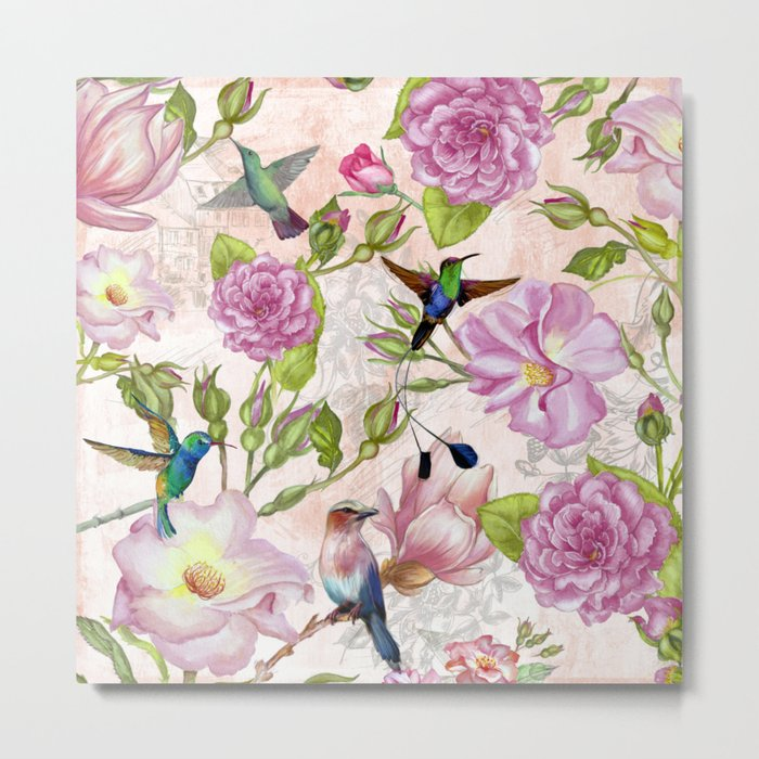 Vintage Roses and Hummingbird Pattern Metal Print