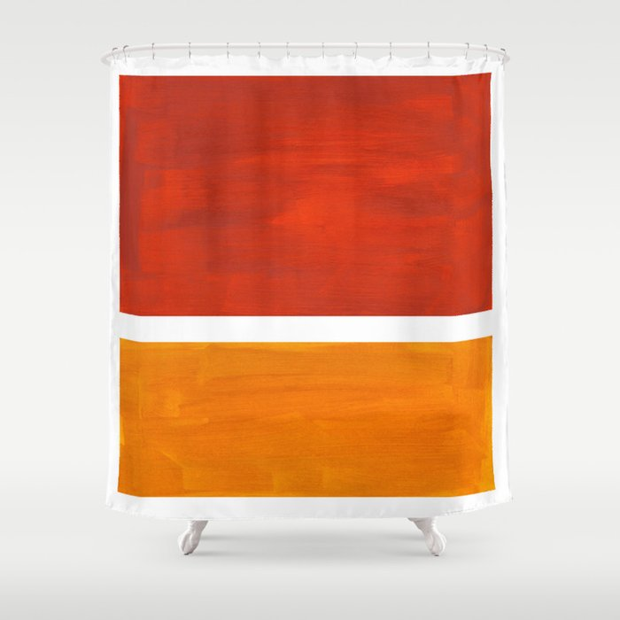 Burnt Orange Yellow Ochre Mid Century Modern Abstract Minimalist Rothko Color Field Squares Shower Curtain