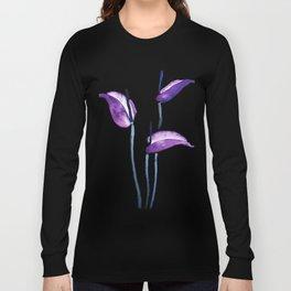 three purple flamingo flowers Long Sleeve T-shirt