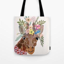 Giraffe with flowers on head Tote Bag