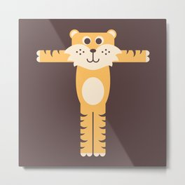 Letter T // Animal Alphabet // Tiger Monogram Metal Print