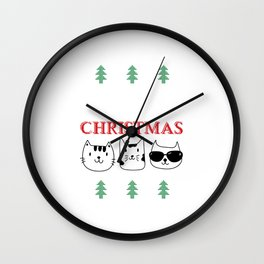 Purry Christmas Cats Christmas Eve Xmas Holiday Celebration Wall Clock