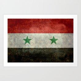 Syrian national flag, vintage Art Print