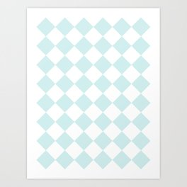 Large Diamonds - White and Light Cyan Art Print