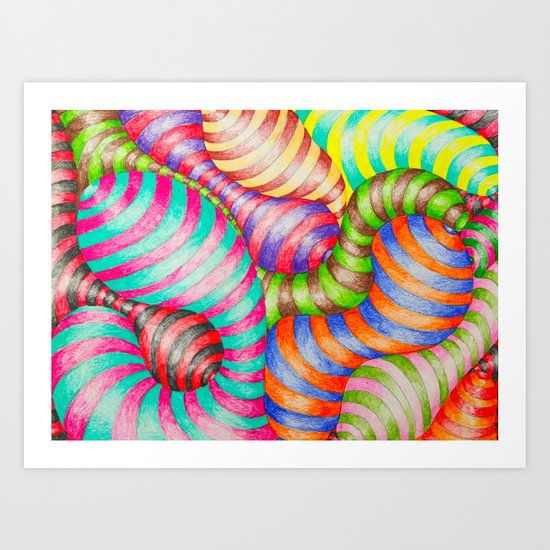 Striped Blobs Art Print