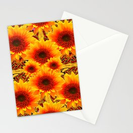 Golden Sunflowers on Sunflowers Floral Patterns Stationery Cards