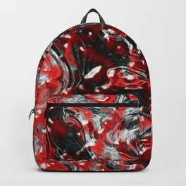 Red and Black Abstract Liquid Gore Pattern Backpack