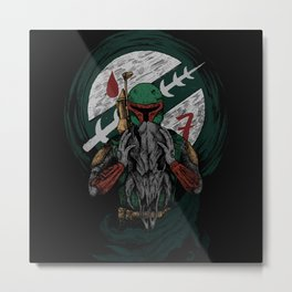 Bounty Hunter Holding Wolf Skull (Square) Metal Print