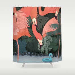 Blue Flamingo Shower Curtain