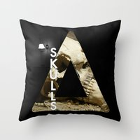 bastille Throw Pillows featuring Bastille - Skulls by Thafrayer
