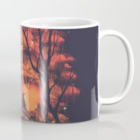 city Mugs featuring Burning In The Skies by Robson Borges