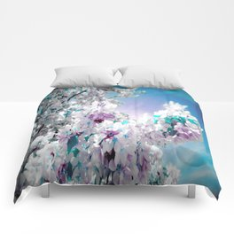 Flowers Lavender Turquoise Aqua Blue Comforters