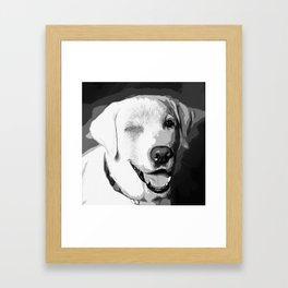 labrador retriever dog winking vector art black white Framed Art Print