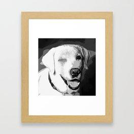 labrador retriever dog winking vector art black white Framed Art Print