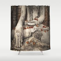 buddhism Shower Curtains featuring Buddha with flowers by Maria Heyens