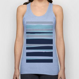 Ocean, Stripe Abstract Pattern, Navy, Aqua, Gray Unisex Tank Top