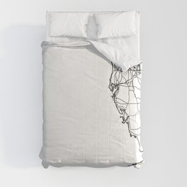 Florida White Map Comforters