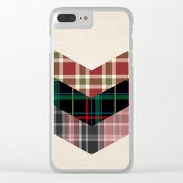 Ivory black pink marsala red geometrical chevron plaid pattern Clear iPhone Case