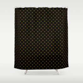 Small Bright Gold Metallic Foil Bees on Black Shower Curtain