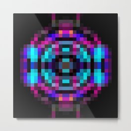 geometric square pixel abstract in orange blue pink with black background Metal Print