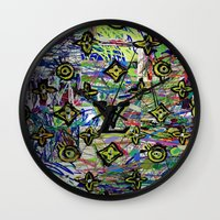lv Wall Clocks featuring LV by JANUARY FROST