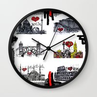 cities Wall Clocks featuring Cities 2 by sladja