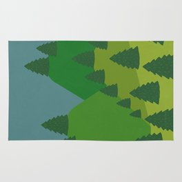 Blue Sky over Green Summer Mountain and Forest Rug