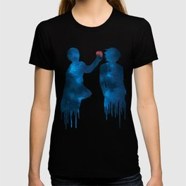 Death Note - Light and L Lawliet sihlouettes with apple (blue galaxy) | Anime and manga T-shirt