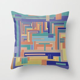 Sofa Soliloquy in navy blue teal terracotta gold geometrics Throw Pillow