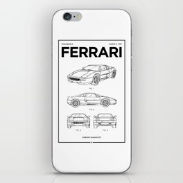 Sports Car Wall Art • Vintage Car Patent • Car Enthusiast Gift • Billionaire Gift Ideas iPhone Skin