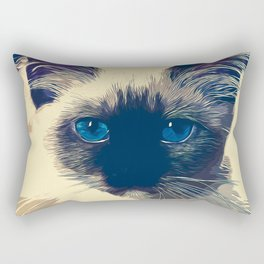 holy birma cat blue eyes vector art foggy night Rectangular Pillow