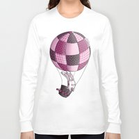 baloon Long Sleeve T-shirts featuring Rabbit on pink baloon by My moony mom
